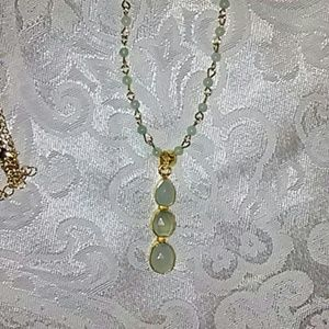 Aqua chalcedony necklace with 3 stones